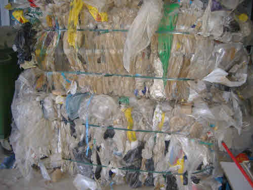 Baled polythene for recycling
