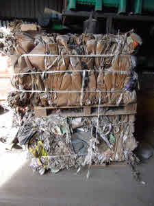 Baled cardboard and paper ready for recycling